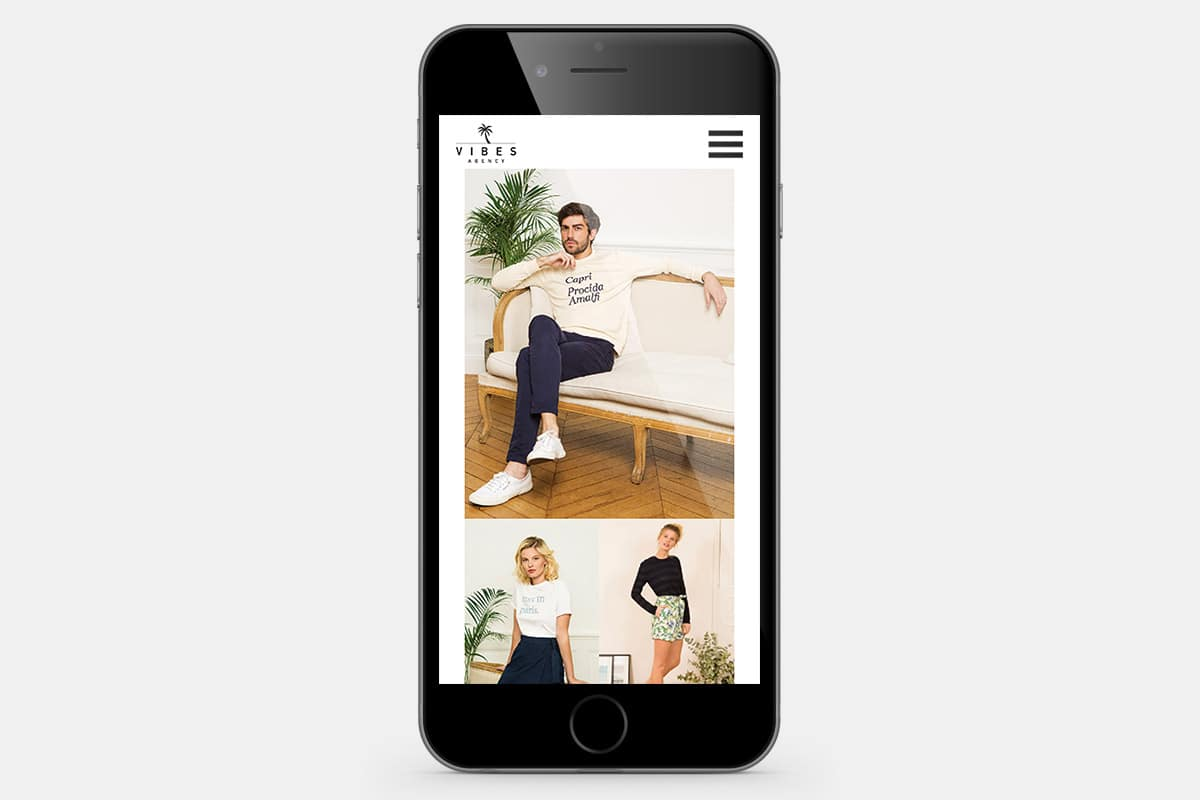 Vibes Agency Fashion Website iPhone