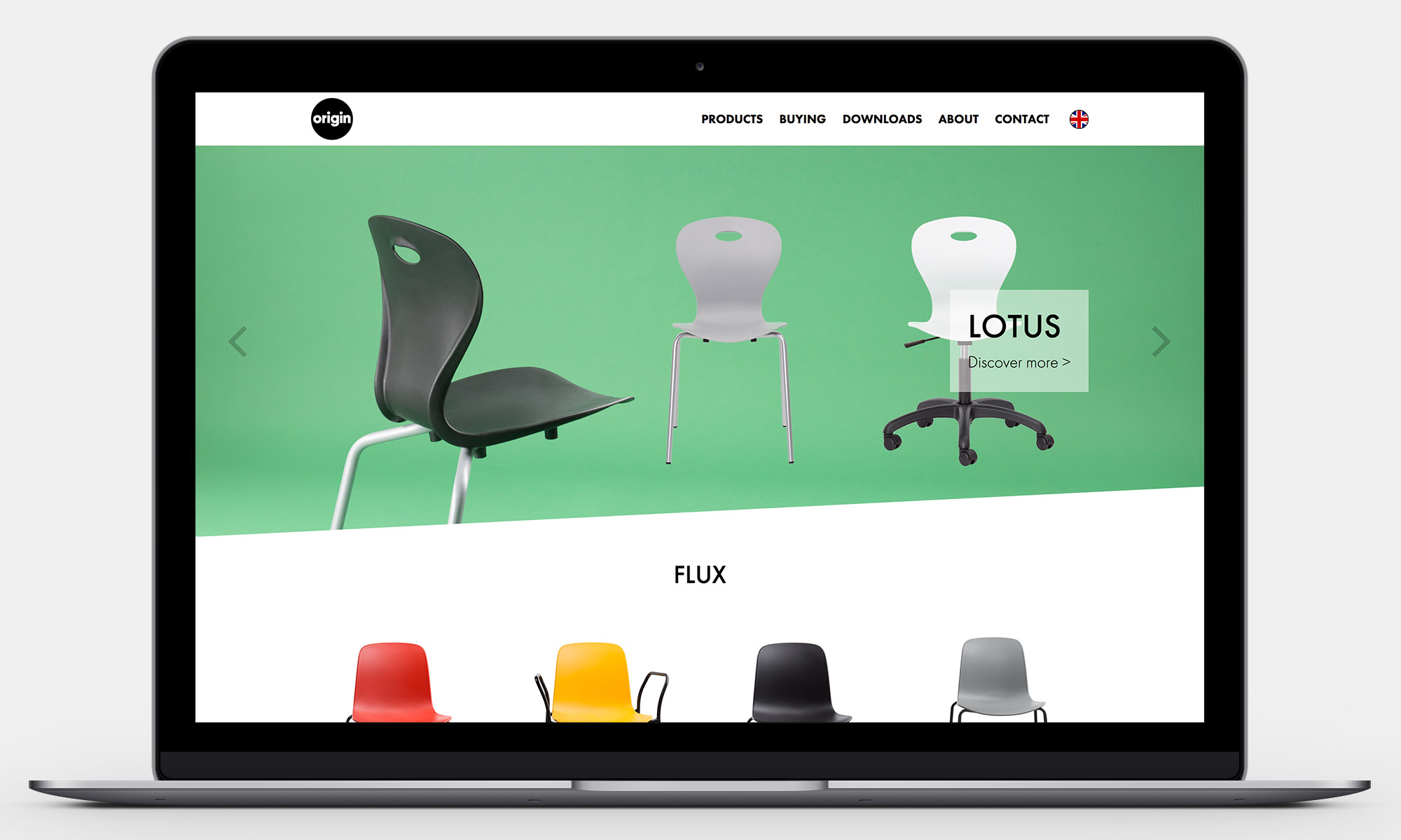 Origin Furniture Website Homepage