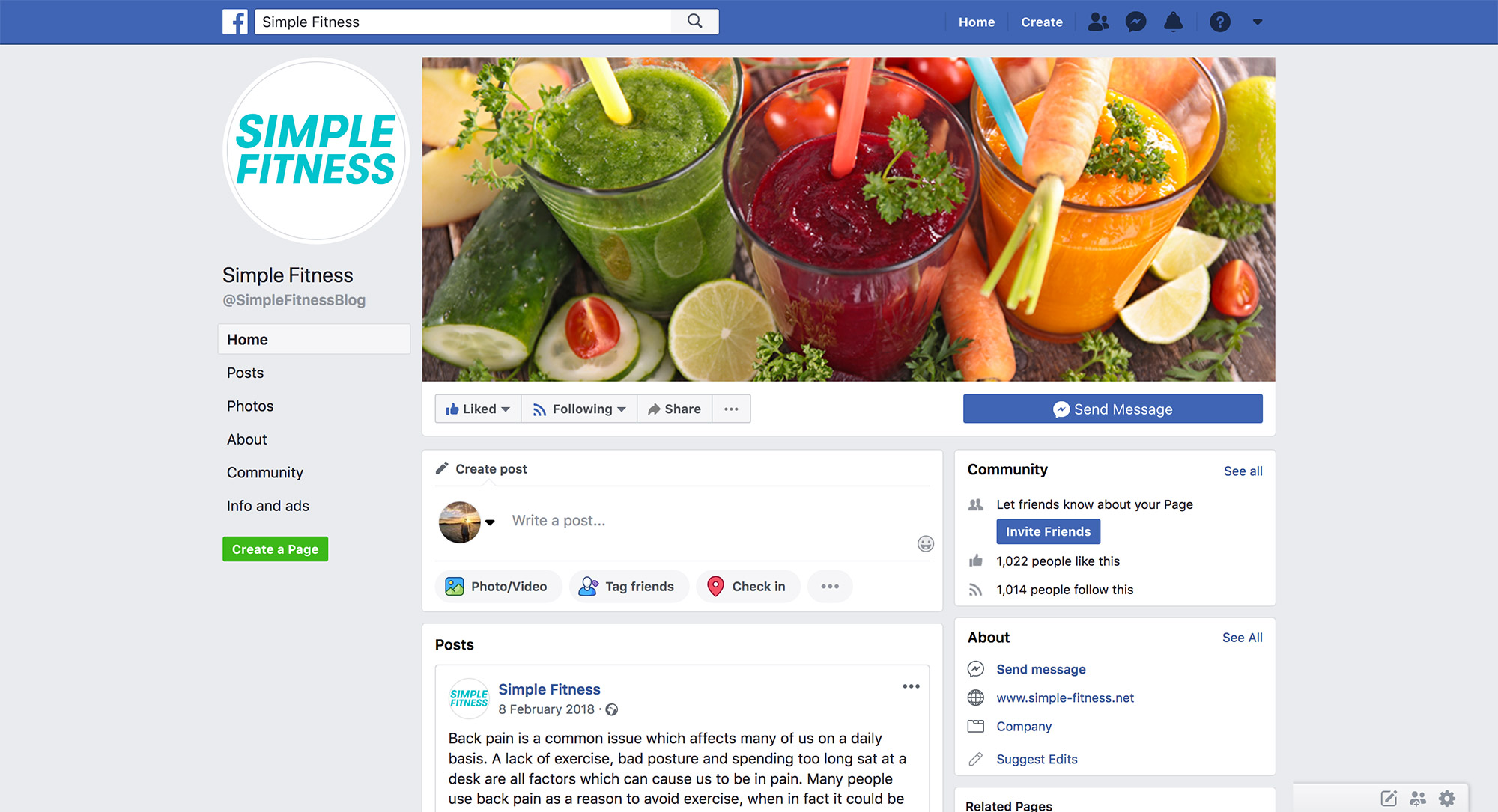 Simple Fitness Facebook Page