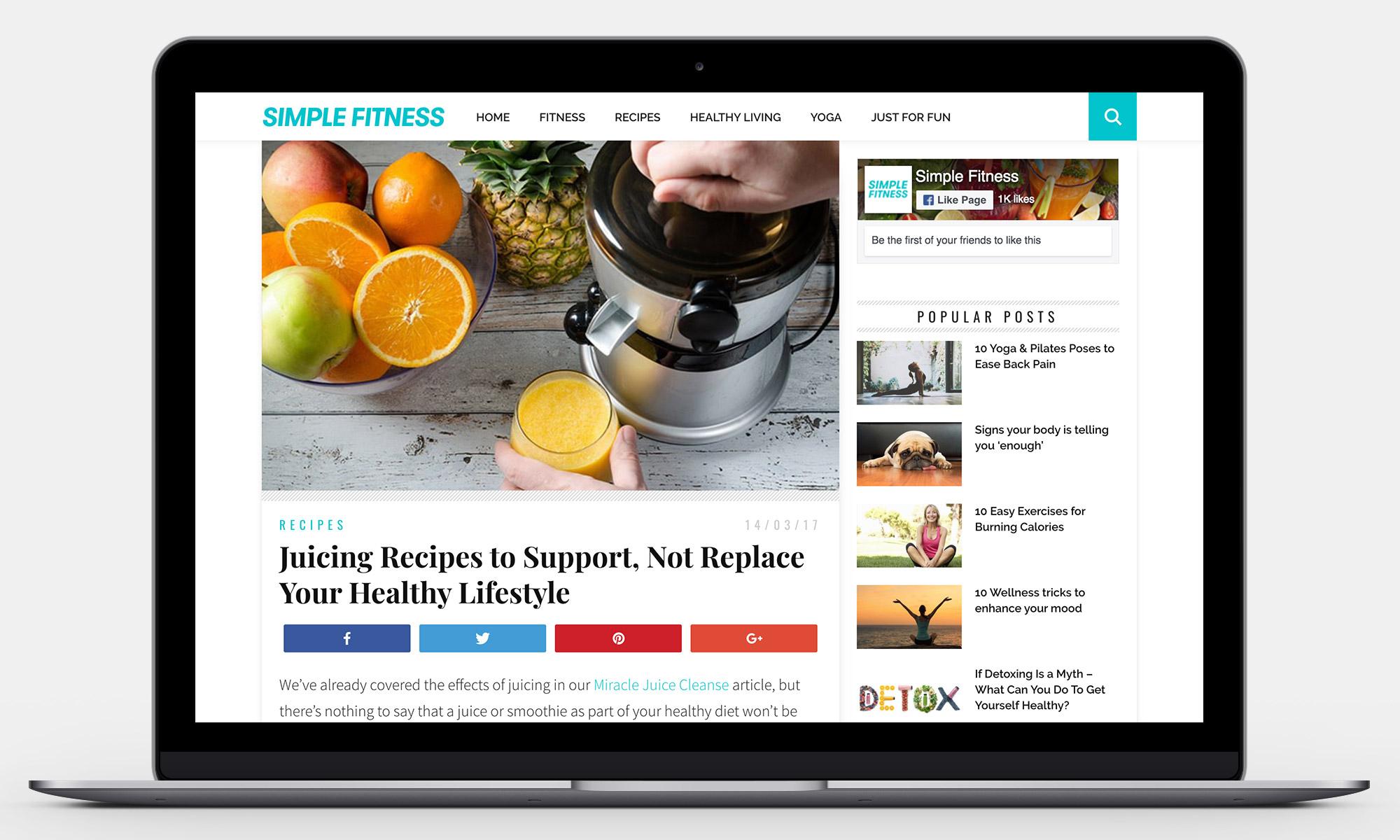 Simple Fitness Website Mockup